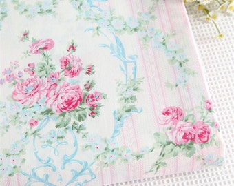Cotton Fabric, Twill Cotton Fabric, Shabby Chic,Floral cotton,bouquet and garland Fabric,Decor Fabric 1/2 Yard (QT973)