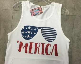 Merica tank top with stars and bars sunglasses