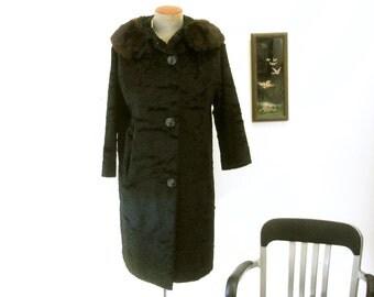 1950s Ladies Black Coat Vintage Mad Men Era Mid Century Womens Full Length Black Faux Persian Lamb Winter Coat Genuine Brown Mink Collar