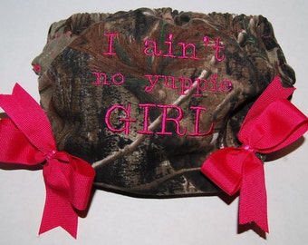 """Baby girl camo Realtree Mossy Oak  diaper cover bloomers Hot pink Redneck baby shower gender reveal  """"I ain't no yuppie girl"""""""