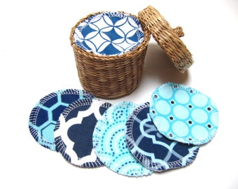 Reusable Facial Rounds, 30 BLUE Mix Cosmetic Rounds, Makeup Remover Pads, Eco-Friendly Face Scrubbies