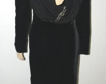 60% OFF Vintage VALENTINO Dress: Long Black Velvet & Silk Maxi Dress, sz Small