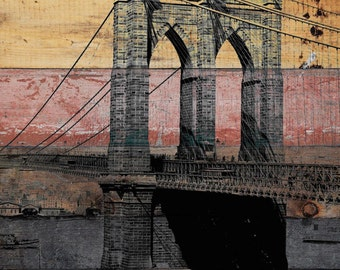 """Old Brooklyn Bridge. New York Extra Large Canvas Art Print up to 72"""", New York Wall Decor Canvas Giclee Black Brown Rustic by Irena Orlov"""