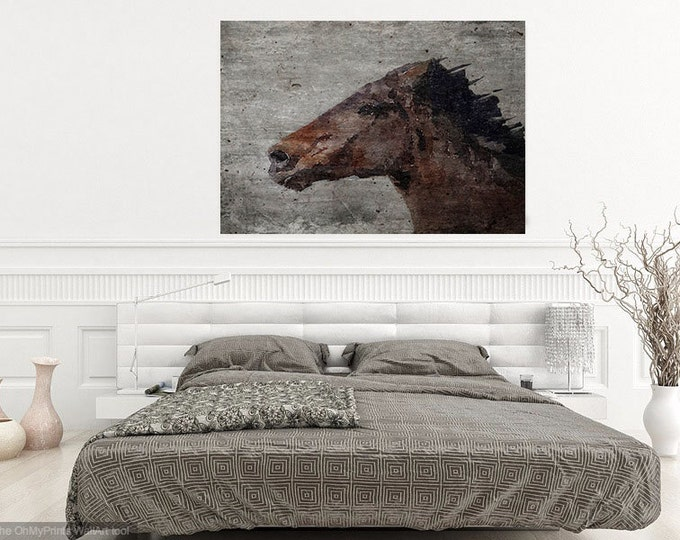 "ORL-7332-5 Running Wild Horse. Extra Large Horse, Horse Wall Decor, Brown Rustic Horse, Large Canvas Art Print up to 72"" by Irena Orlov"