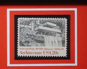 American Architecture - Fallingwater by Frank Lloyd Wright - Vintage Framed Stamp - No. 2019