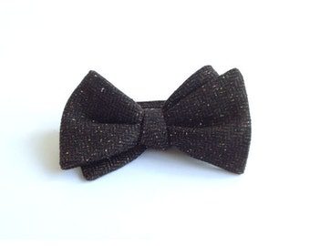 Men's bowtie, Men's Tweed Bow Tie, Dark Brown Wool Bowtie, Self Tie Bow Tie for Men/ READY TO SHIP
