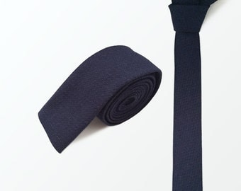 Skinny Tie, Navy Necktie, Pique Textured Woven Cotton Tie, Wedding & Gift / READY TO SHIP