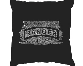 Throw Pillow Cover - Word Art - The US Ranger Creed