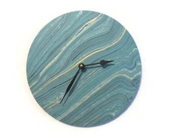 Unique Wall Clock, Trending Decor, Gold and Teal, Marble Clock, Decor and Housewares, Home Decor, Home and Living