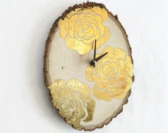 Wood Wall Clock, Metallic Gold Rose Decor, Cottage Chic Clocks,  Home & Living, Home Decor, Clocks