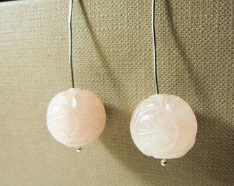 Rose Quartz earrings,  gemstone earrings, silver earrings, quartz earrings, drop earrings, natural crystal, crystal earrings, wire earrings