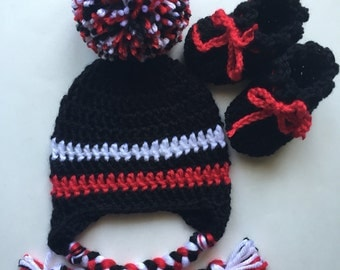 hat with ear flaps and booties