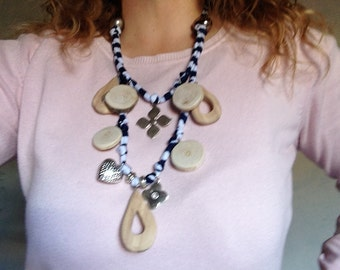 Jewelry statement necklace accessory in wood, charms and silver beads by bois et rois