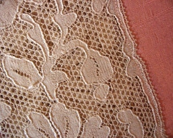 1920's Peach Silk with Ecru Lace Inserts Small Twin Size or Day Bed Cover Bedspread Vintage Feminine Bedroom Decor Accessory 50 by 68 Inches