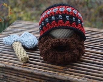 lumberjack hat, beard beanie, beard hat, crochet beard, lumberjack outfit, thingy thingz, newborn outfit, photo prop, newborn beard, axe
