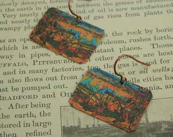 Art earrings Paul Gauguin mixed media jewelry wearable art