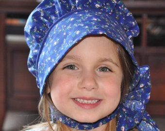 Little House on the Prairie Bonnet with chin strap sizes 0-3 through 8 Years