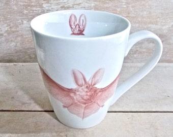 Bat and Moon Mug, Large Bat Coffee Cup, Natural History Bats, Antique Nature Book Illustrations, Halloween Tea Mug, Macabre, Ready to Ship