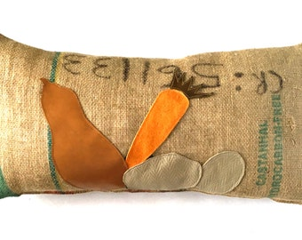 "SALE: Garden Variety ""Squash, Carrot & Potatoes"" Pillow"