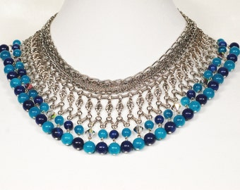 Egyptian Turquoise Blue Dangle Bib Necklace