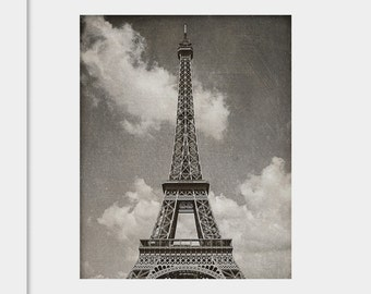 Eiffel Tower Photograph | Paris Wall Art | Photography | Vintage Texture Soft | Love | Wanderlust | Travel Black and White