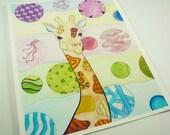Giraffe art. Colorful art print. 8x10 print, kids room art, childs bedroom wall art, whimsical giraffe print