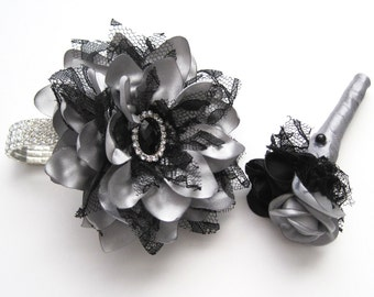 Wrist Corsage Boutonniere Set Prom Homecoming Winter Formal Wedding  Designed in Your Colors Shown in Silver with Black Lace and Rhinestones