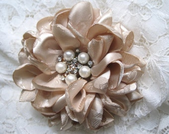 Romantic Champagne Jacquard Satin Bridal Wedding Flower Hair Clip, Bride, Bridesmaid, Mother of the Bride with Pearl  and Rhinestone Accent