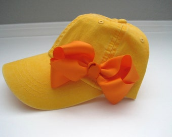 Youth Toddler Baseball Cap Yellow with Adorable Orange Grosgrain Ribbon Bow Fits 3 to 10 yr olds Adjustable