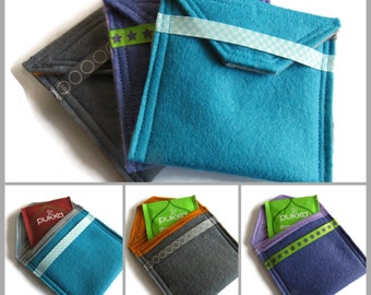 3 x Assorted Felt Tea Bag Holders - Travel Case for Tea Bags - Felt Tea Bag Pouch - Handbag Tea Bag Pouch