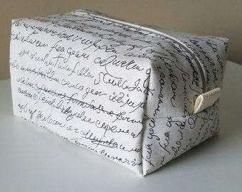 Modern Makeup Bag  - Grey Cosmetic Pouch -  Lunch Bag - Wet Bag - Waterproof Bag