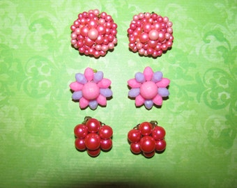 Lot of Vintage Pink Clip On Cluster Earrings