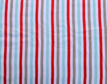stripes.  fabric by the yard.  Baby boys.  Cut by the 1/2 yard (18 inches, 45.72 cm).  White, blue, turquoise, gray, red.