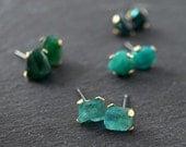 AQUA BLUE GREEN Gemstone Studs - Brass Prongs & Stainless Posts - Pick Your Gemstone