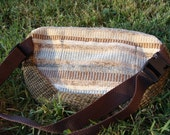 patchwork fanny pack navy lace on BROWN & STRIPES 03  : handmade hippie patchwork durable unique one of a kind design