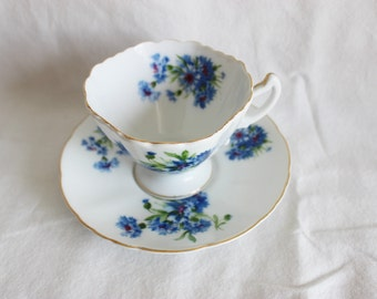 Vintage Interco Chicago Blue Floral Tea Cup and Saucer Made in Japan