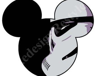 Mickey Mouse Star Wars Blank Iron-On Digital File
