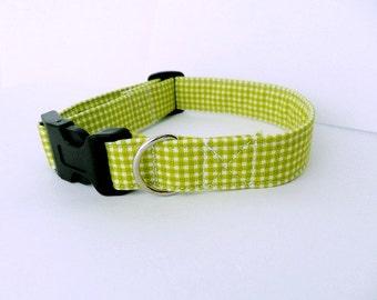 Green Gingham Dog Collar - adjustable