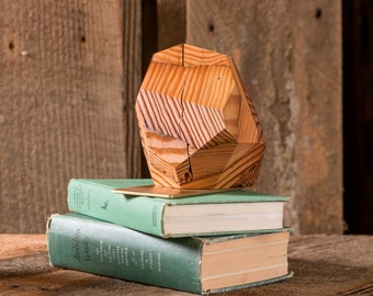 Reclaimed Wood Bookends- Brass Bookend- Geometric Barn Wood Sculpture- Wooden Facet Decor- Brushed Brass- FREE SHIPPING