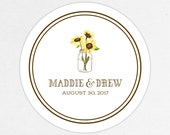 Mason Jar Wedding Favor Labels, Calligraphy Favor Tags, Favor Stickers, Wedding Labels, Printed Labels, Sticker, Rustic, Sunflowers, Country