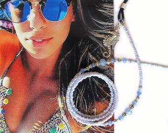 Eyewear holder, Blue and silver, Beaded glasses chain, Reading glasses holder, Sunglasses chain, glasses chain, eyeglass chain, Handmade