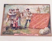 NEW YEAR Sale, French Advertising for Biscuits, Lefevre Card, Trade Ad,  Paper Ephemera