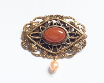 Carnelian Pin Brooch, Pearl, Art Deco Vintage Jewelry, SUMMER SALE
