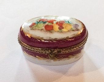 Limoges Deep Pink Trinket Box, Hand Painted, French Vintage Vogue WINTER SALE