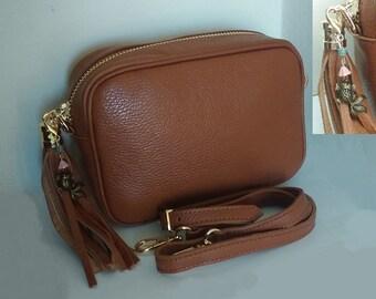 Genuine leather bag and handmade keychain - Personalized shoulder bag - Handmade leather bag - Small women bag - Genuine leather bag