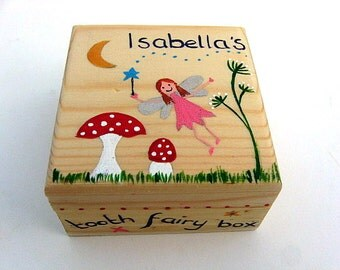 Children's personalised tooth fairy box, Hand-painted personalised trinket box, Girl's Wooden Tooth Fairy Box