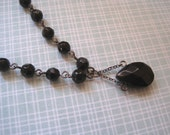 Black Glass Necklace Beaded Noir Victorian Romantic Style Gunmetal Findings Gothic Motif 1990s