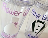 Ring Bearer or Flower Girl Tumbler Cup, Personalized Acrylic Cups, Bridal Party Acrylic Tumbler, Personalized Ring Bearer or Flower Girl Cup
