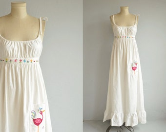 Vintage 1970s Maxi Dress / 70s Hand Embroidered White Cotton Boho Hippie Festival Sundress / Flower Bug Butterfly Embroidery
