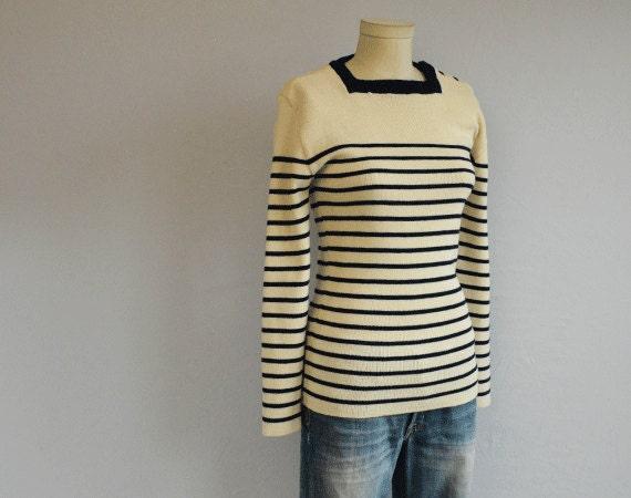 Vintage 70s Striped Sweater / 1970s Nautical Stripe Wool Knit